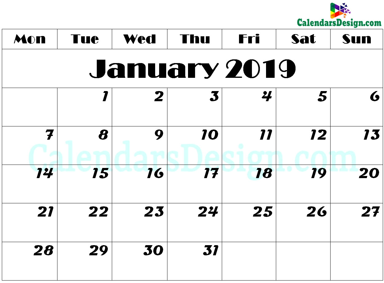 graphic about January Calendar Printable identify January 2019 Calendar Printable