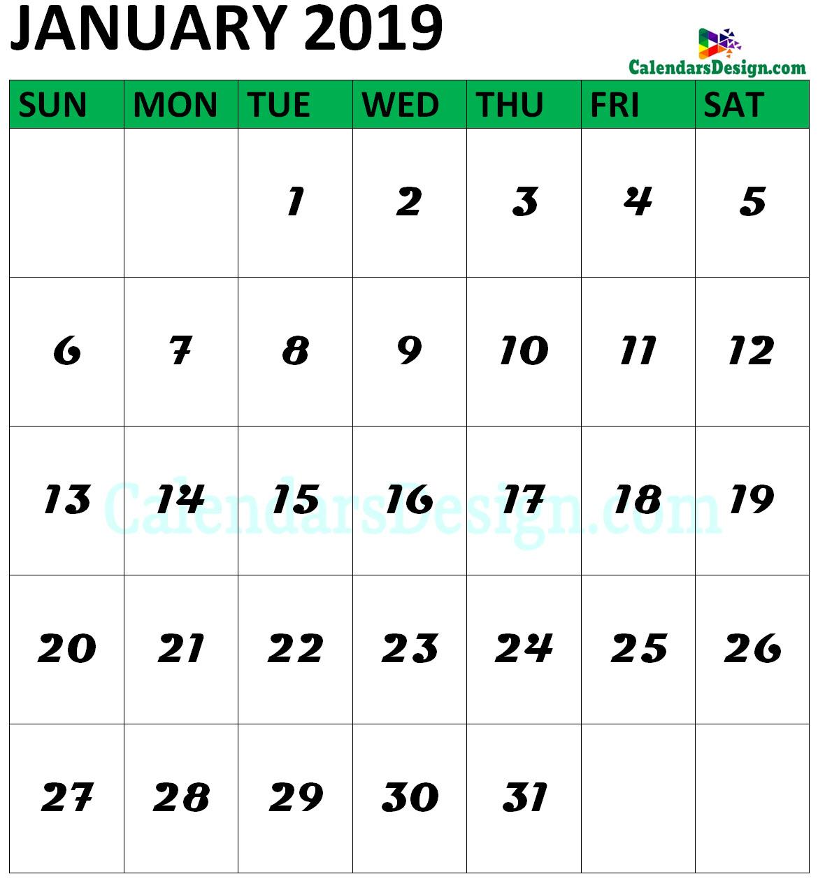 January 2019 Calendar Vertical