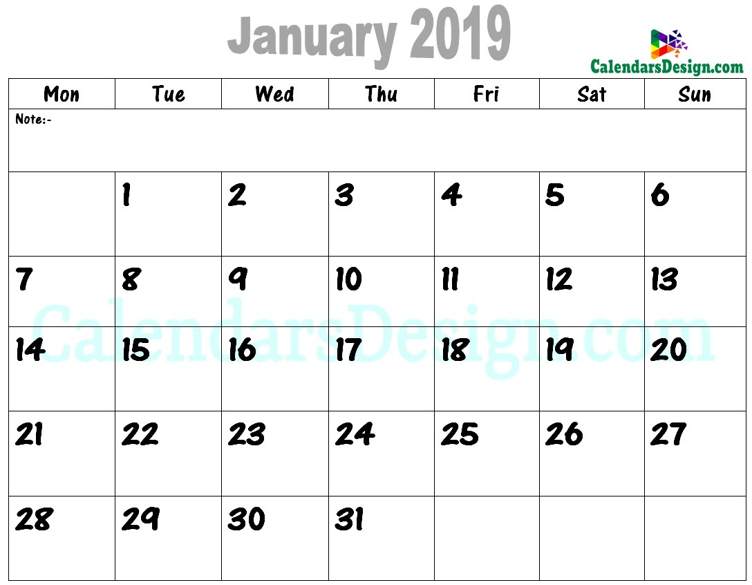 January 2019 Calendar in PDF