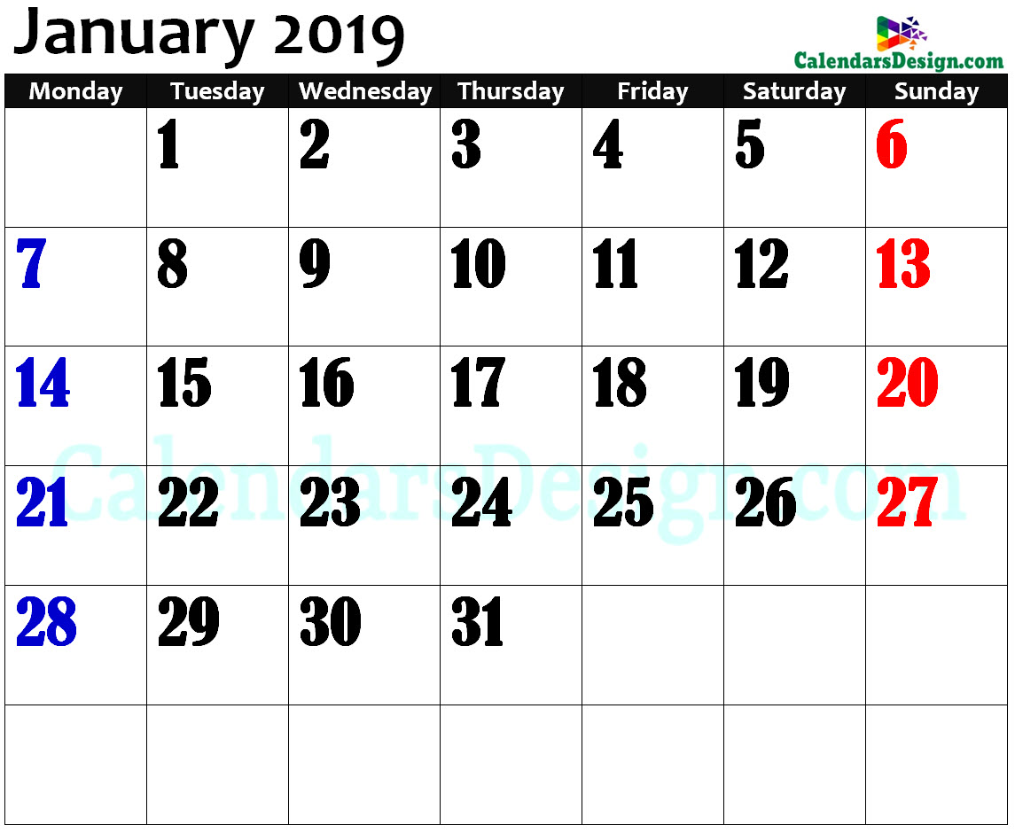 January 2019 Calendar in Page