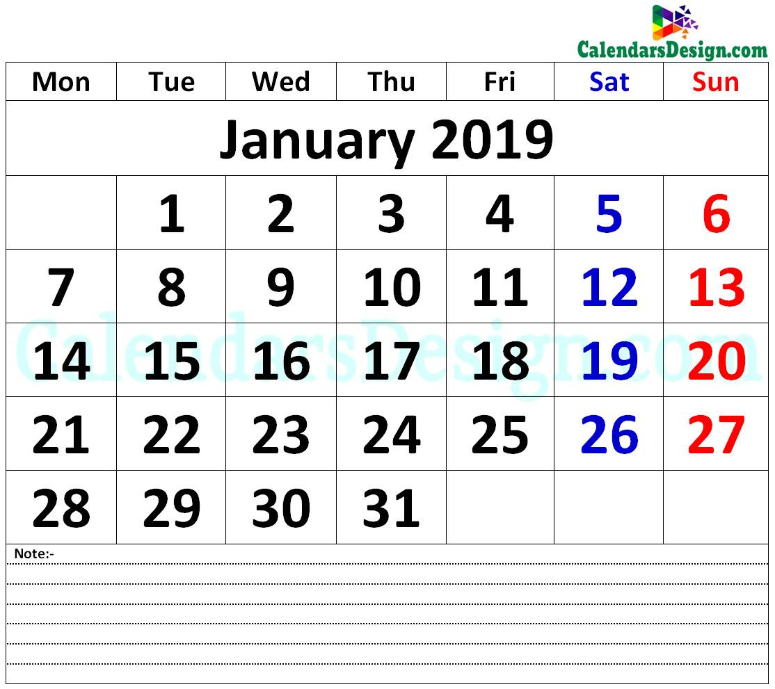 January 2019 Printable Calendar