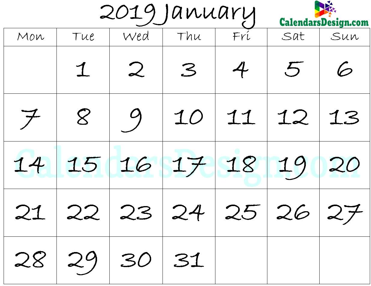 January Calendar 2019 Template