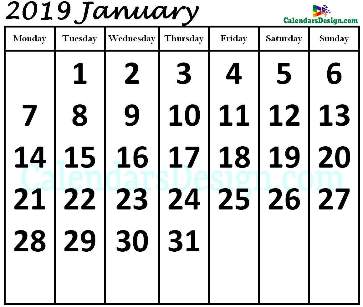 Print January 2019 Calendar in Page Format