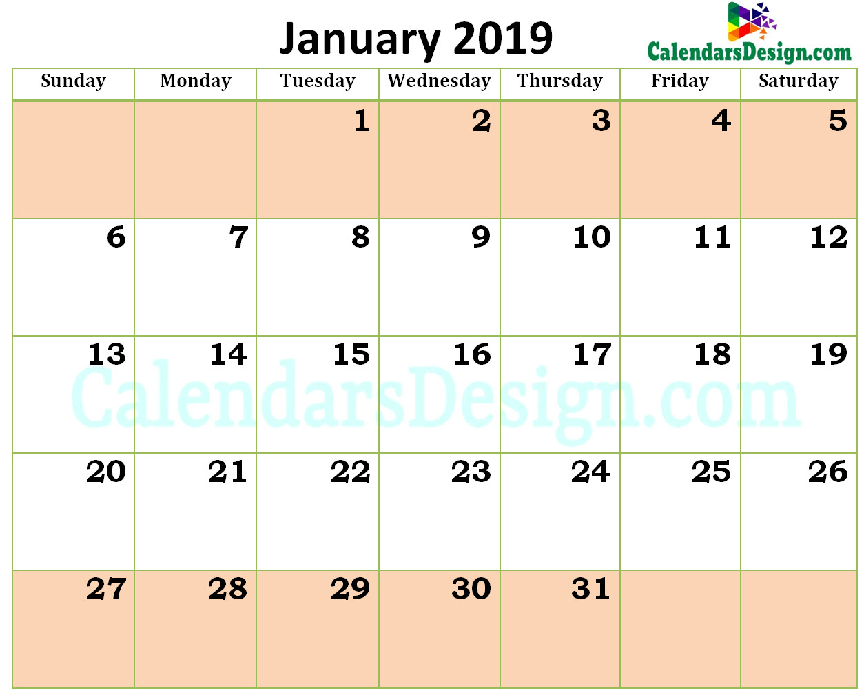 Printable Blank 2019 January Calendar Excel