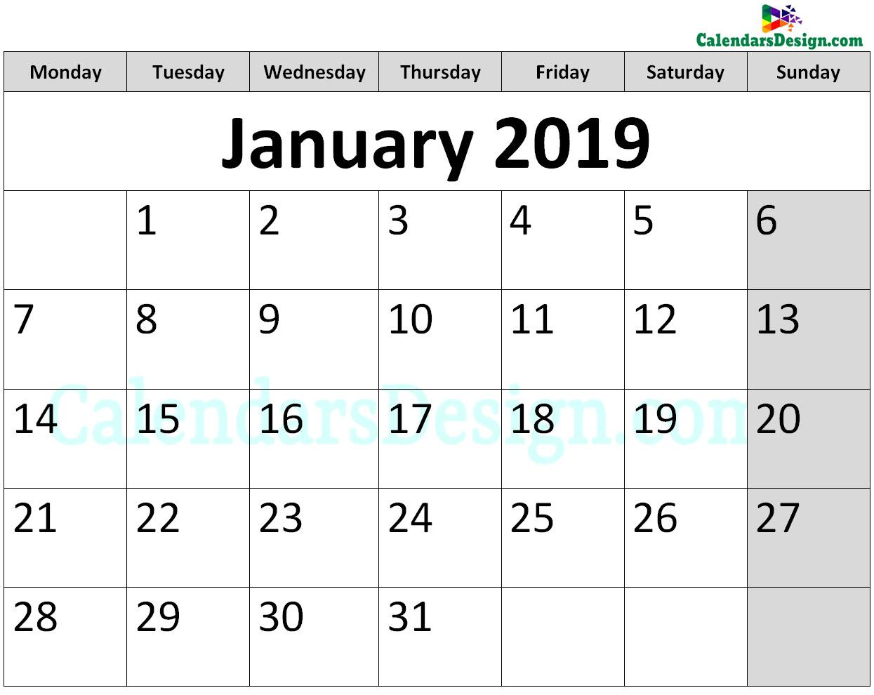 Printable Calendar for January 2019 Page