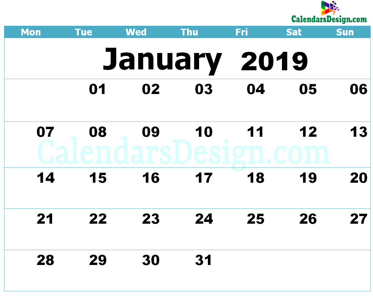 Printable Calendar for January 2019 Templates
