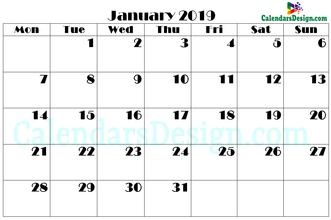 Printable Calendar for January 2019 PDF