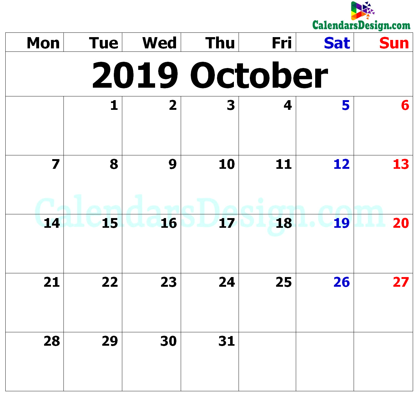 2019 Calendar October Excel Templates