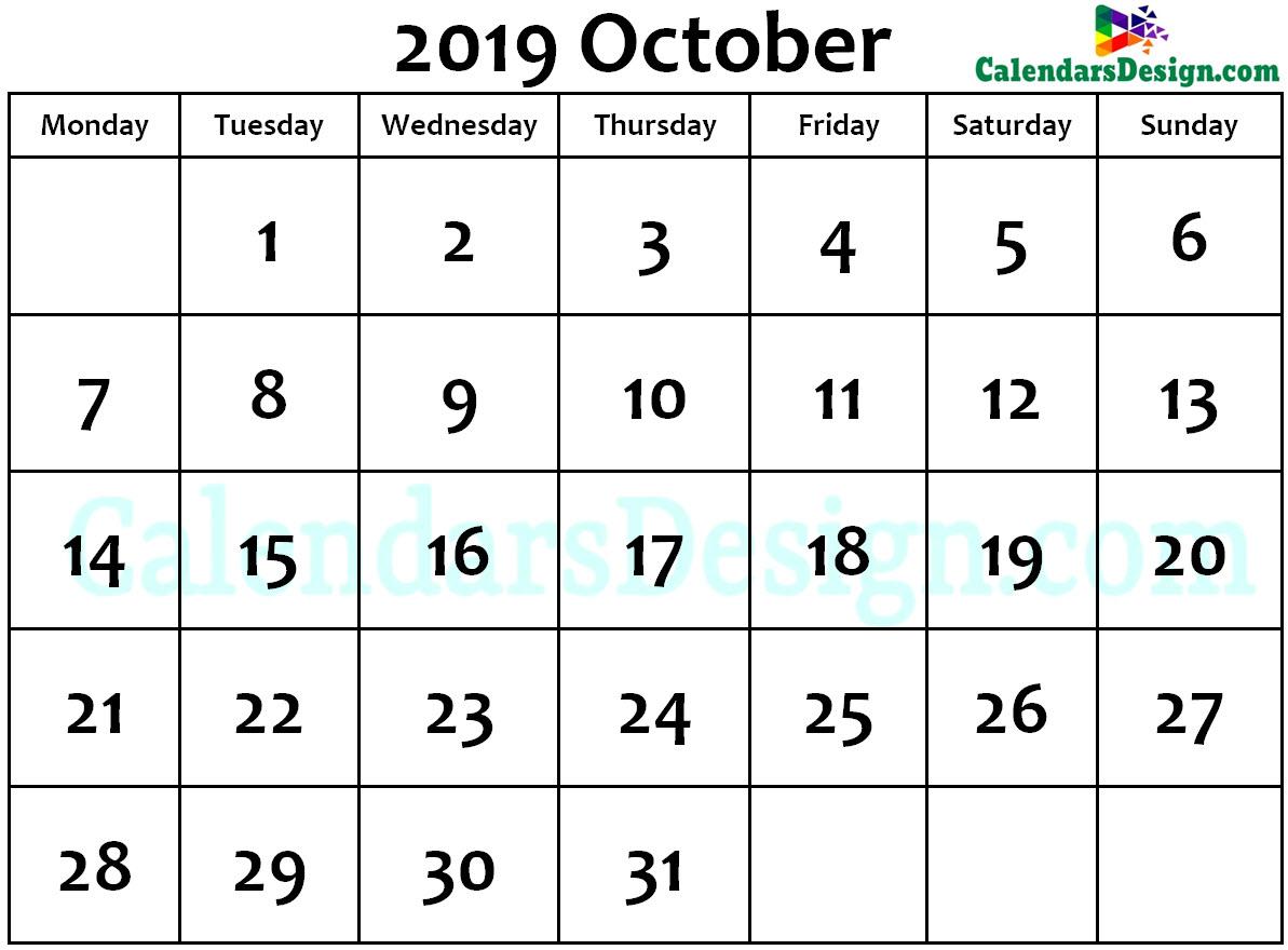 2019 October Calendar Holidays in Word