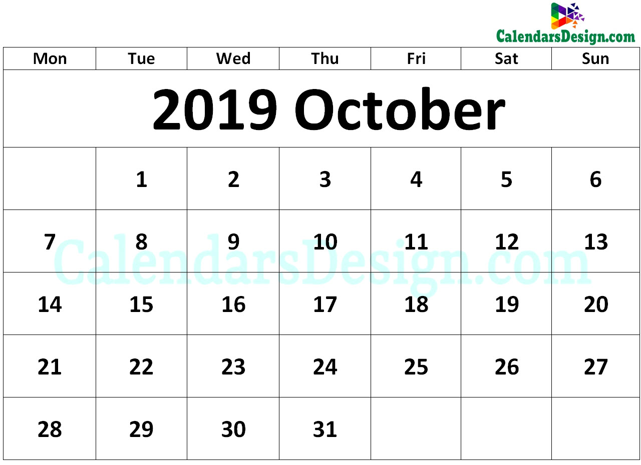 2019 October Calendar Printable Template