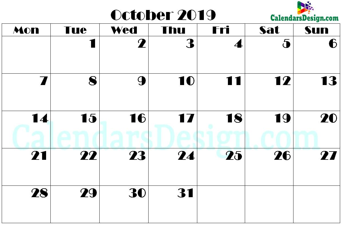 2019 October Printable Calendar PDF