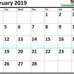 Blank February 2019 Calendar