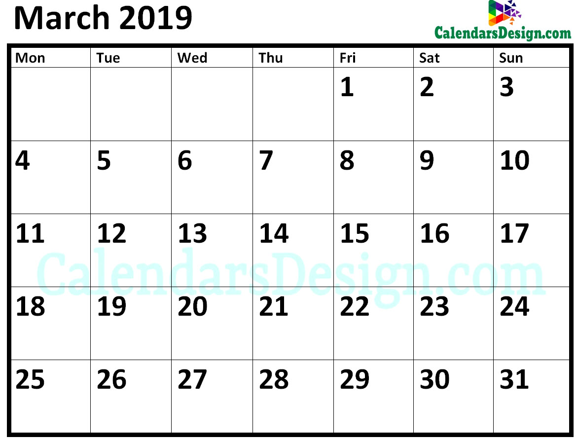 Blank March 2019 Calendar