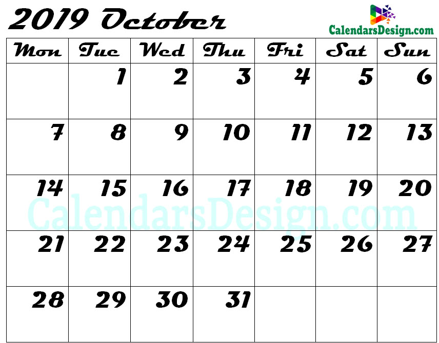 picture relating to Free Printable October Calendar identified as Blank Oct Calendar 2019 Template - Cost-free 2019 Printable