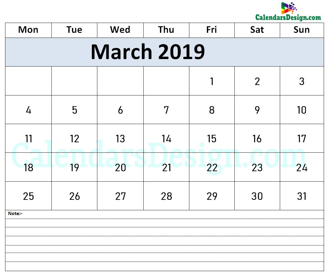 Calendar March 2019