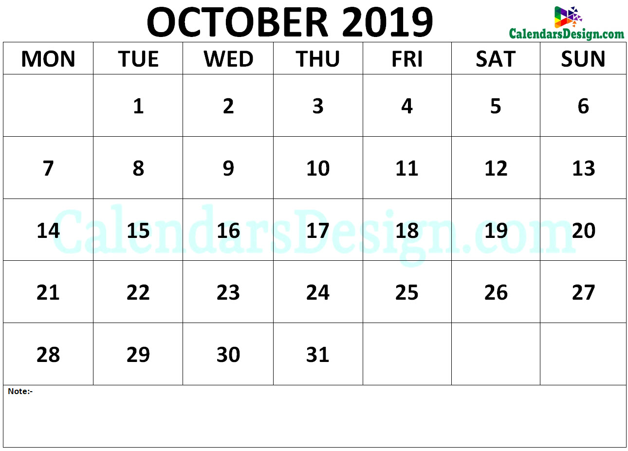 Calendar October 2019