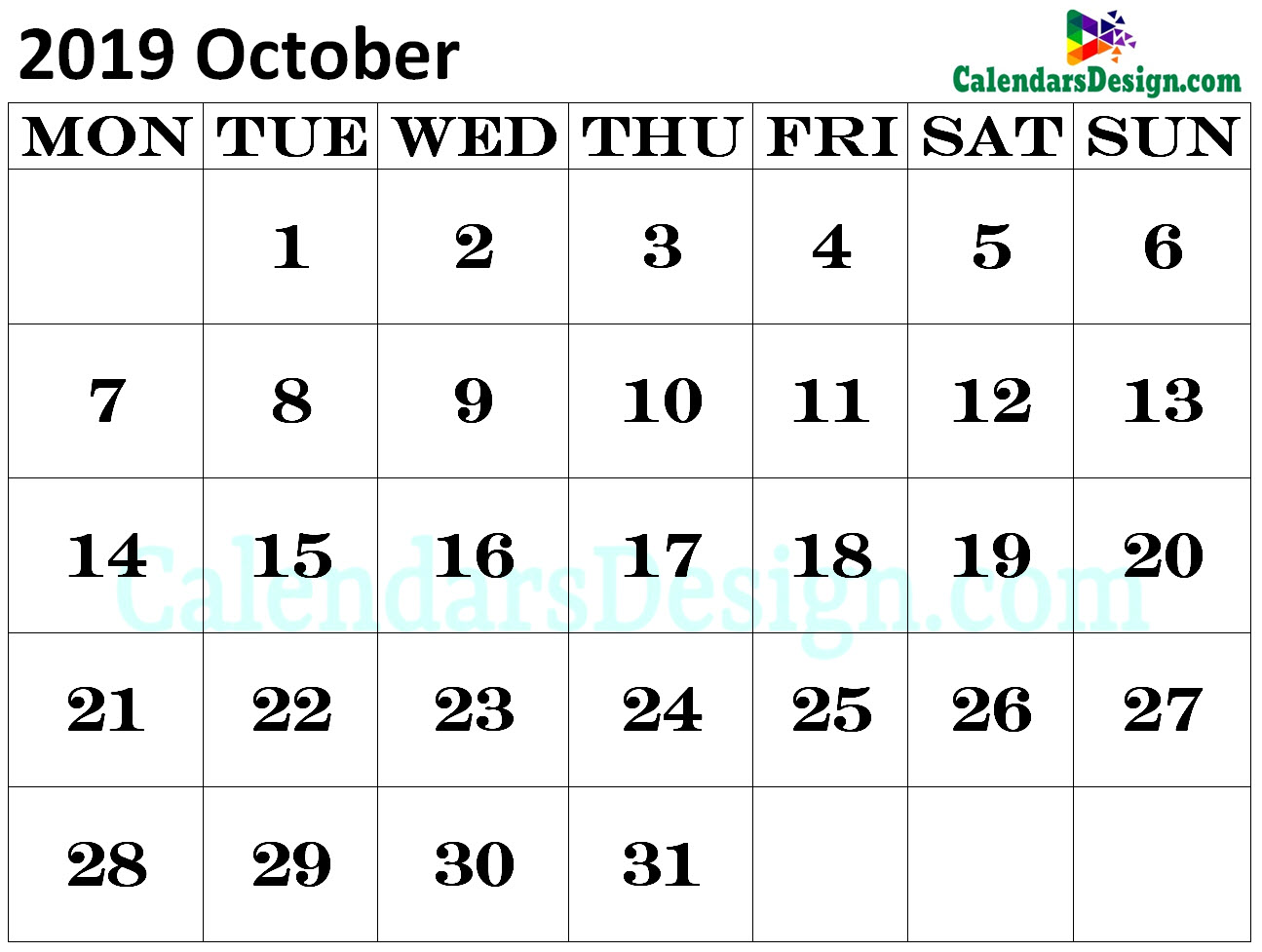 Calendar for October 2019 Excel to Print