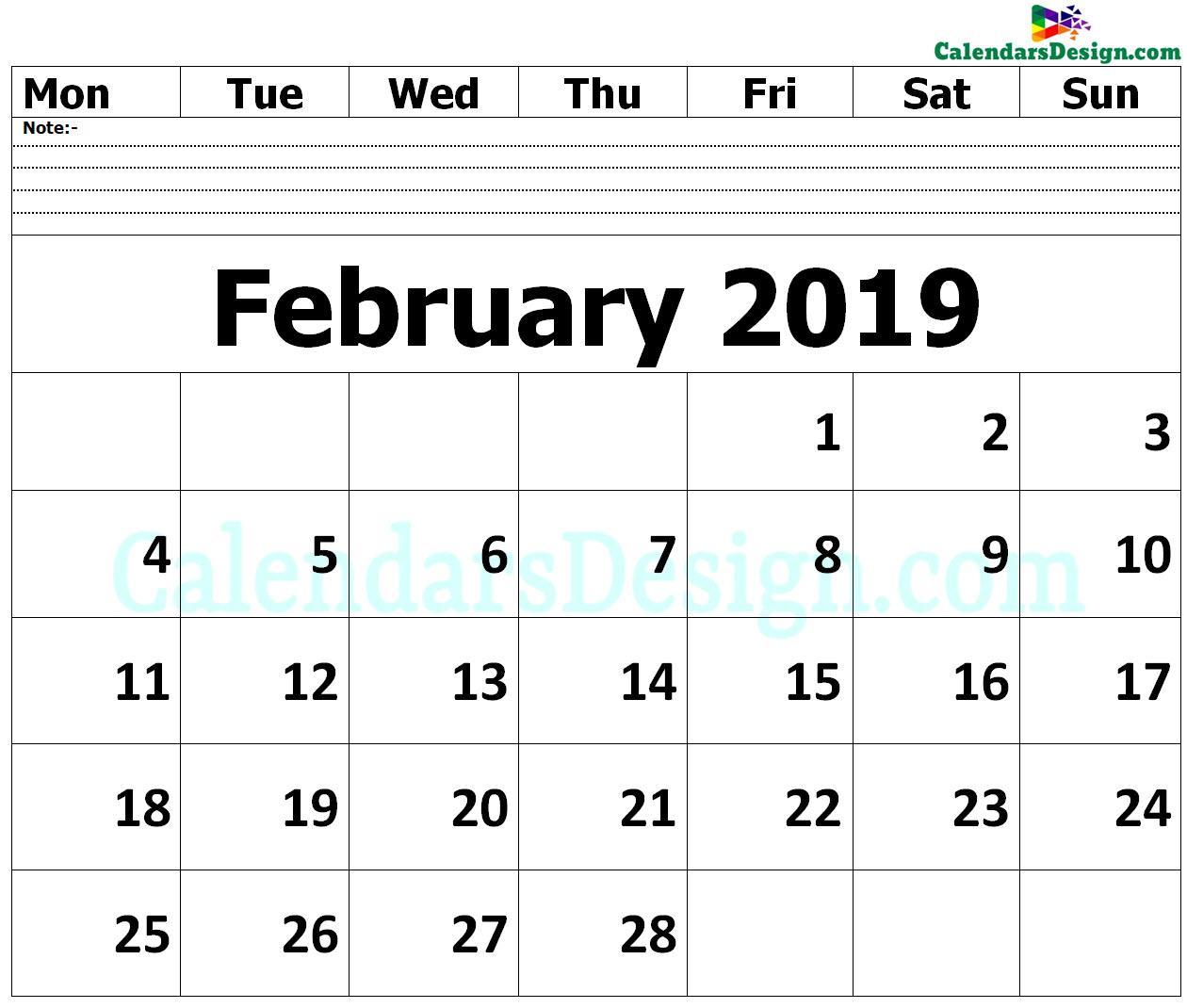 Editable February 2019 Calendar Blank Template