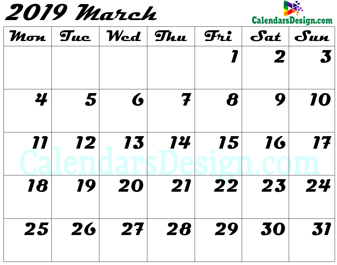 Editable March 2019 Calendar Blank Template