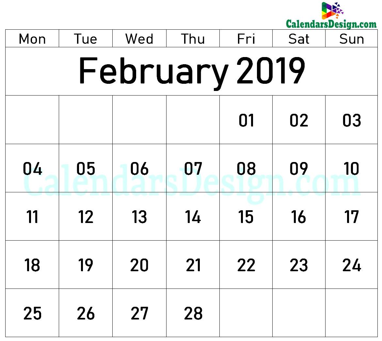 February 2019 Printable Blank Calendar