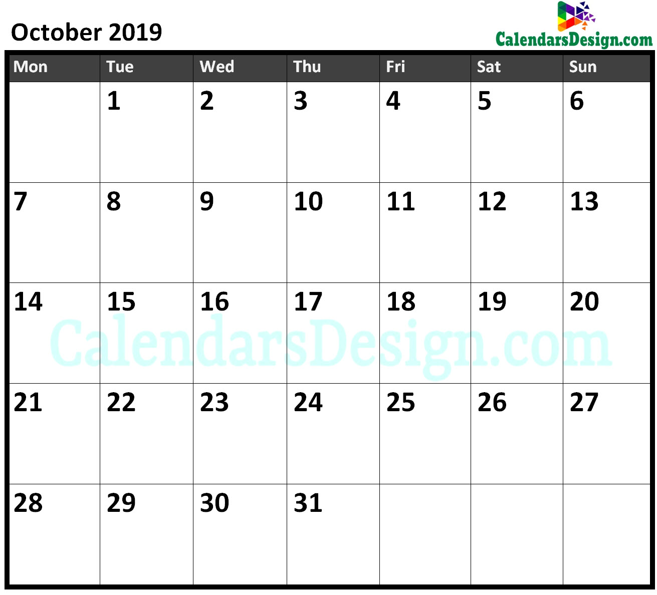 October 2019 Calendar Excel