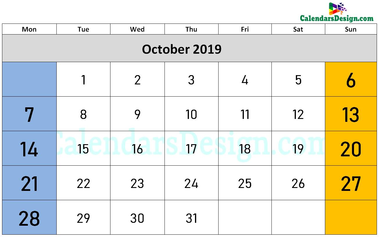 October 2019 Calendar Word Doc