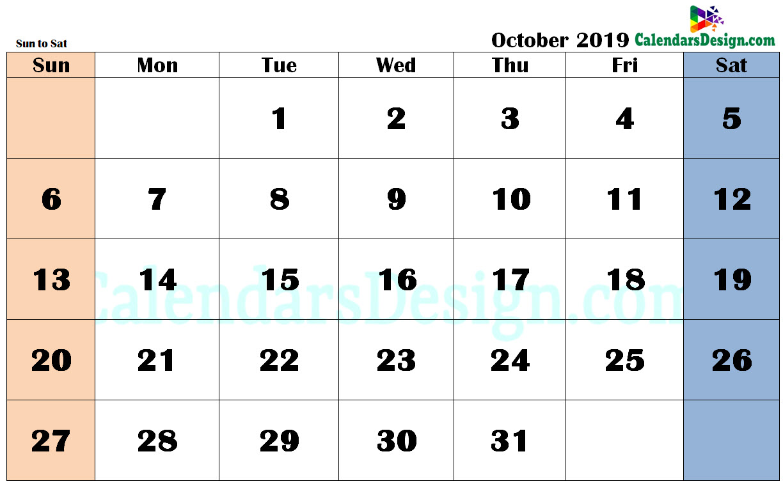 October 2019 Calendar in PDF