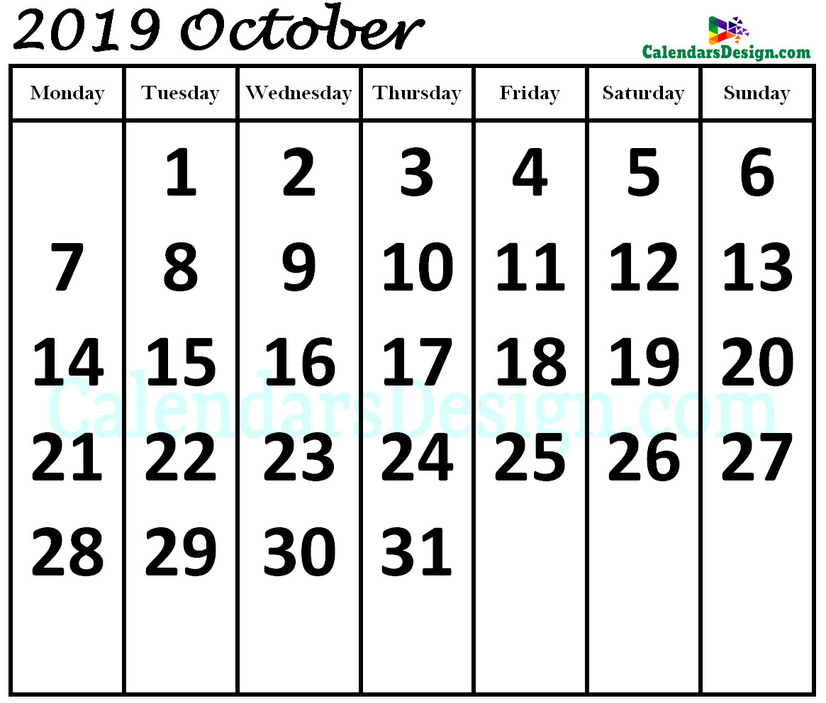 October 2019 Calendar in Page