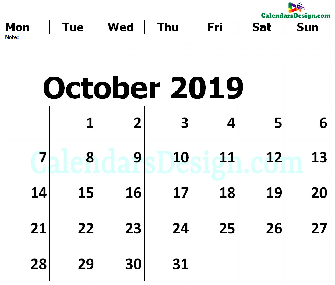 October 2019 Printable Blank Calendar