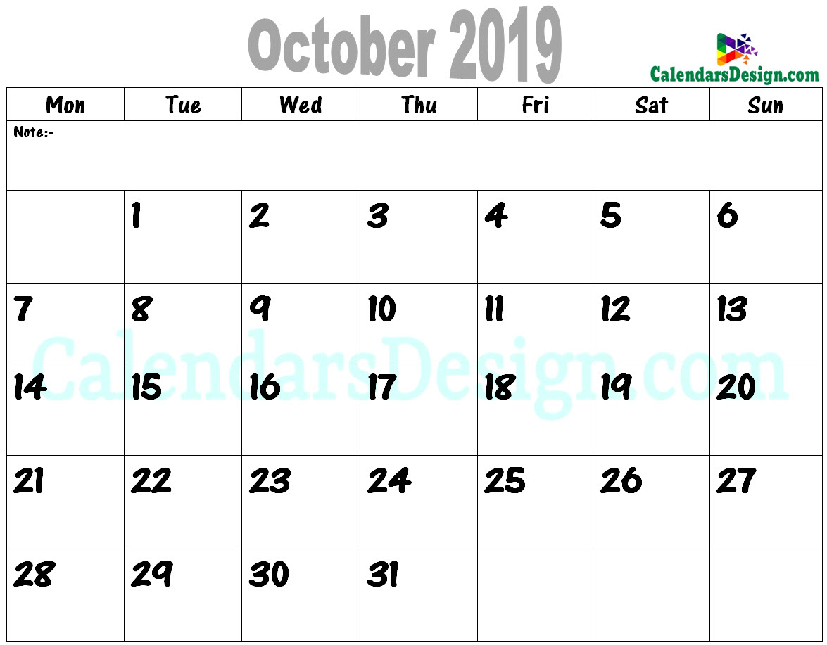 graphic about Oct Calendar Printable Pdf identified as Oct Calendar 2019 PDF - No cost 2019 Printable Calendar
