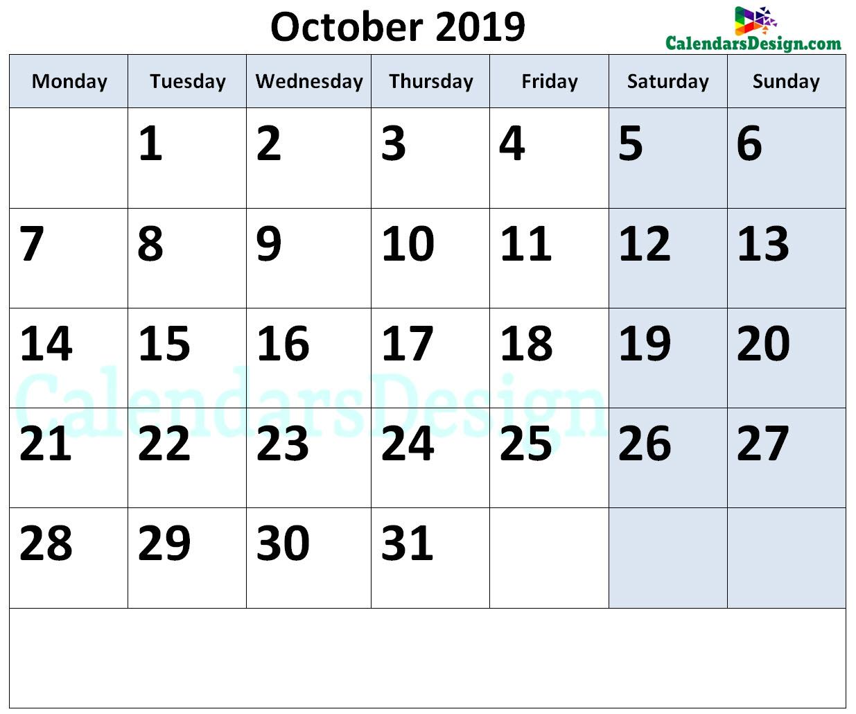 October Calendar 2019.October Calendar 2019 Page Free 2019 Printable Calendar Templates