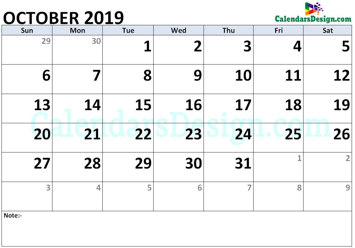 October Calendar 2019 Word Format