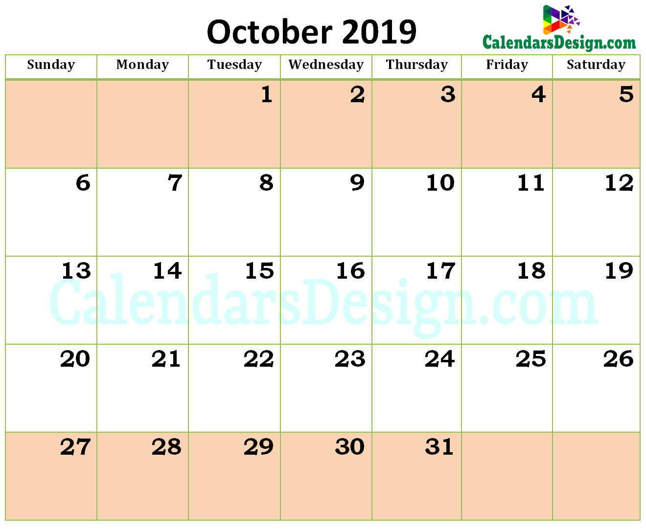 October Calendar 2019 in Excel Format