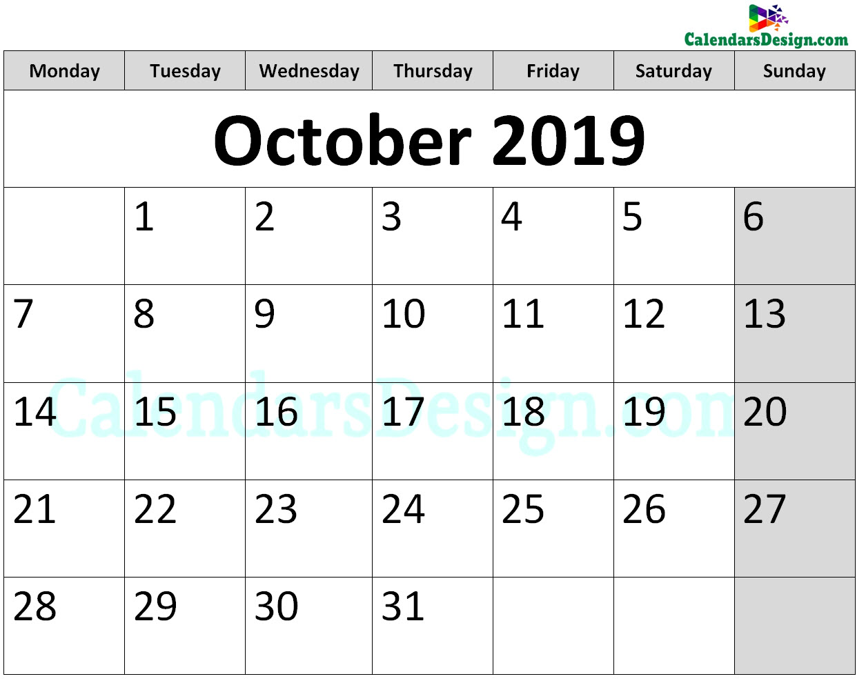 Print October 2019 Calendar in Page Format