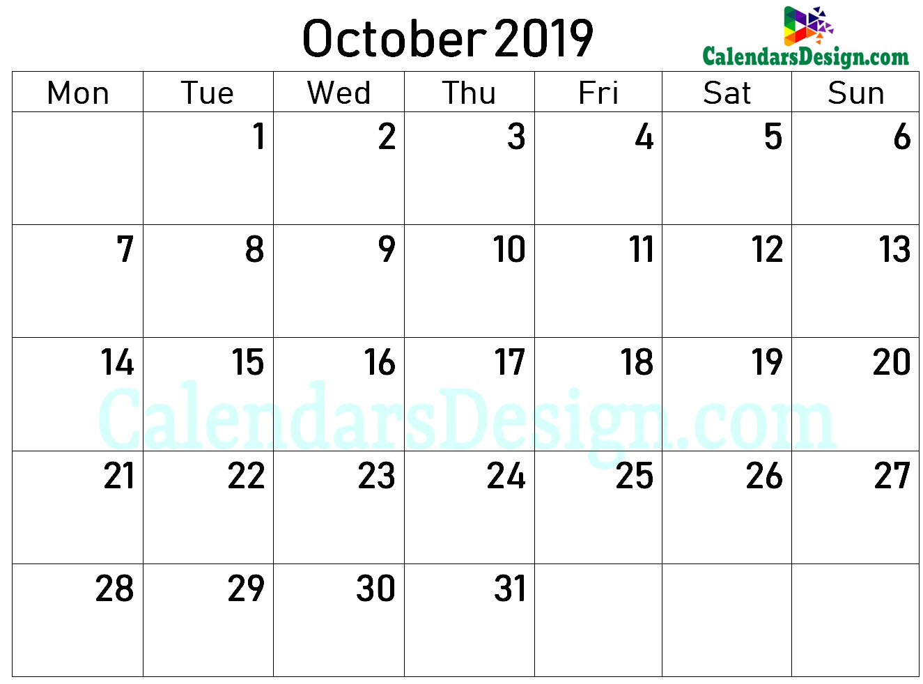 Printable Blank 2019 October Calendar Excel
