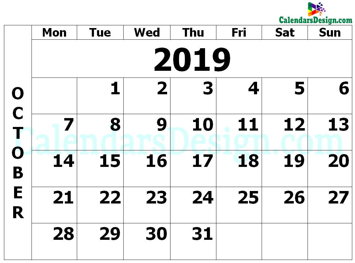 graphic about Printable Calendar October named Printable Calendar for Oct 2019 PDF - Totally free 2019