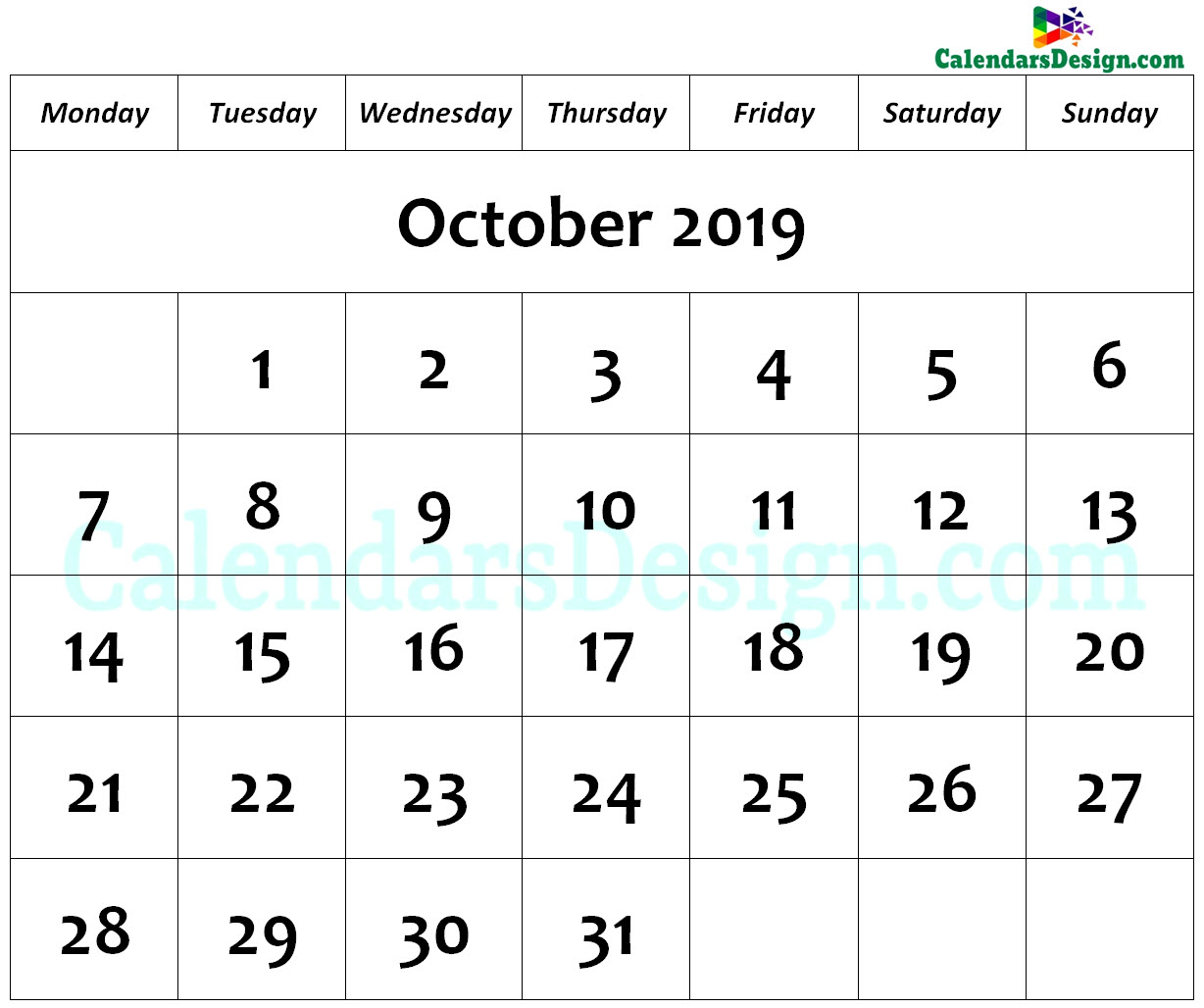 Printable Calendar for October 2019 Page