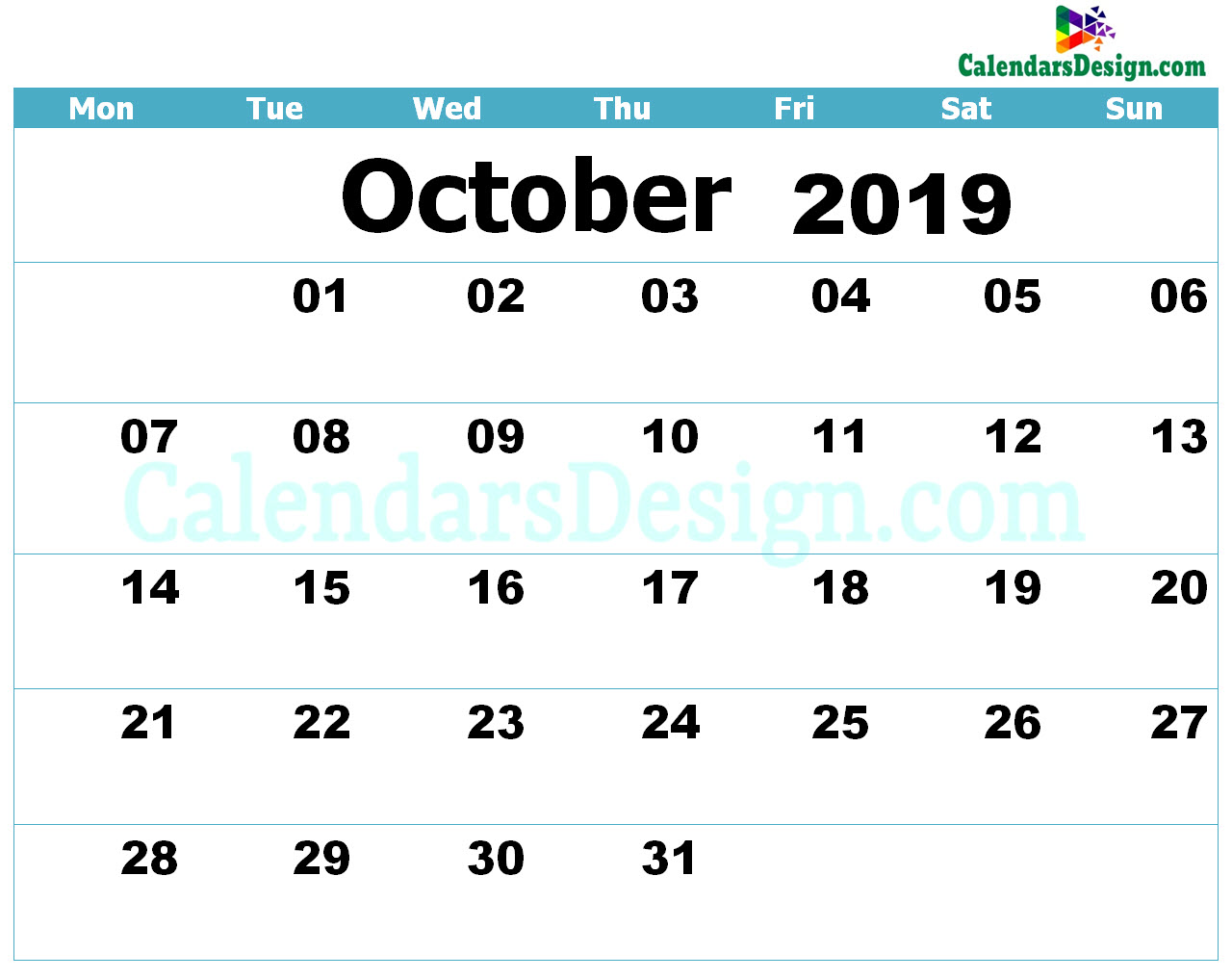 Printable Calendar for October 2019 Templates