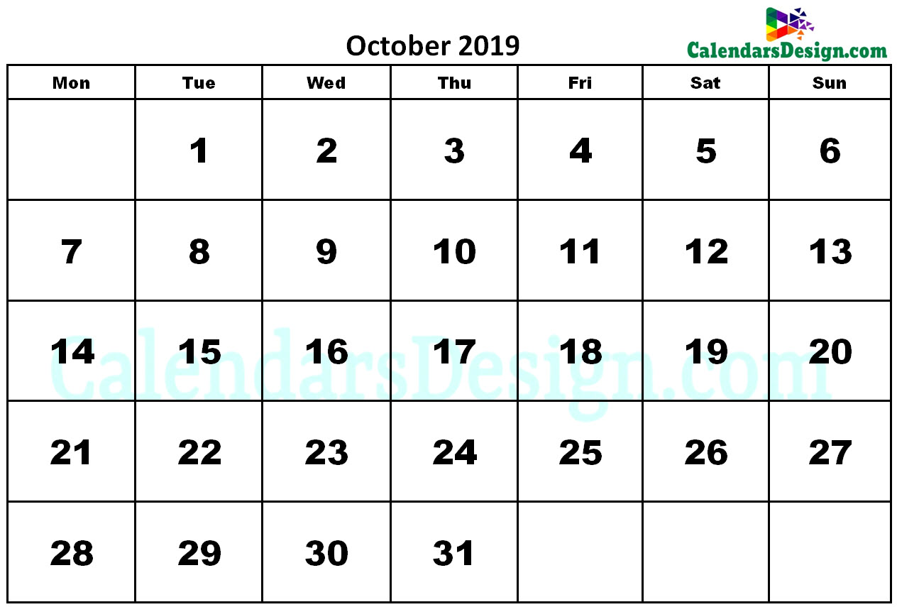 Printable Calendar for October 2019 Word