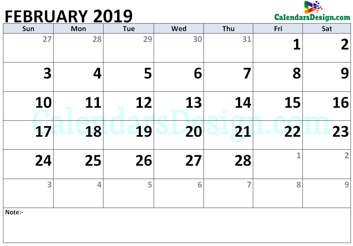 2019 February Calendar Holidays in Word
