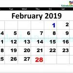 2019 February Calendar Printable Template