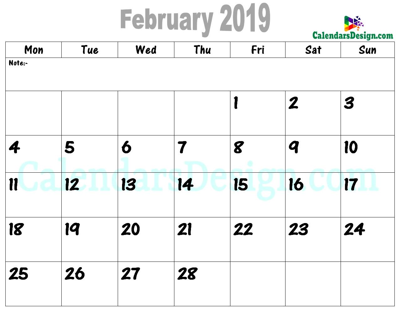 2019 February Printable Calendar PDF