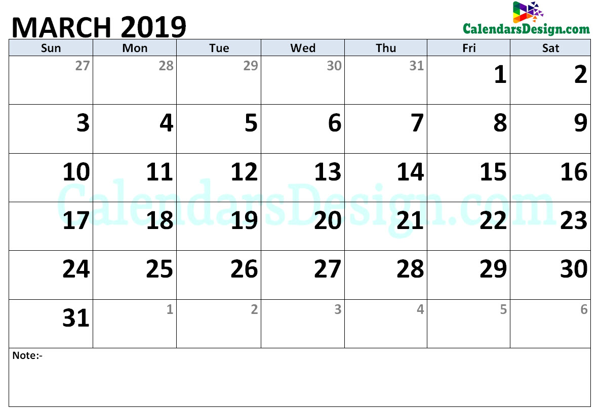 2019 March Calendar Holidays in Word