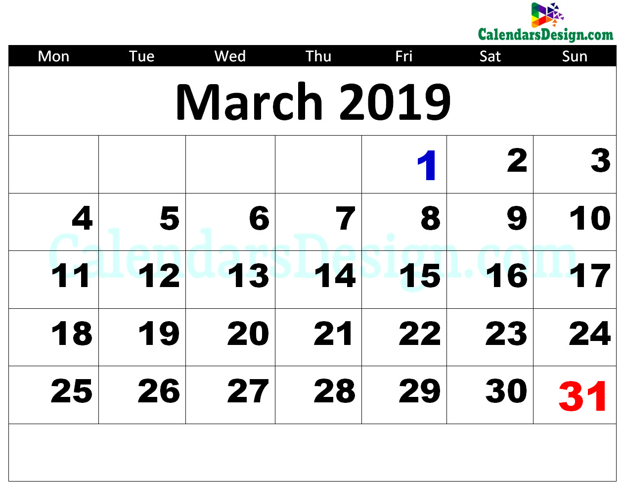 2019 March Calendar Printable Template