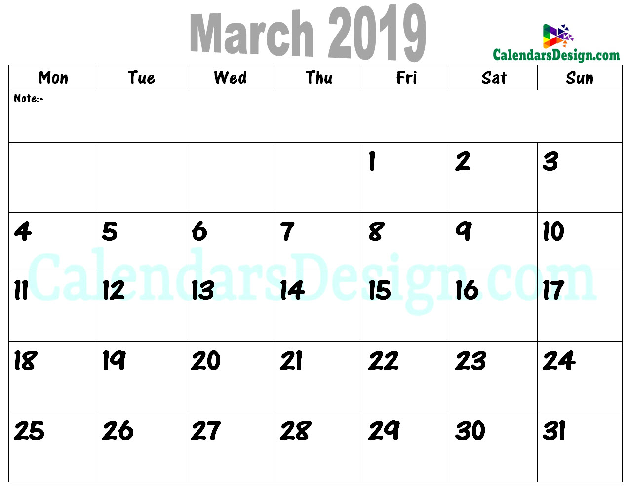 graphic about Calendar March Printable called March 2019 Calendar PDF