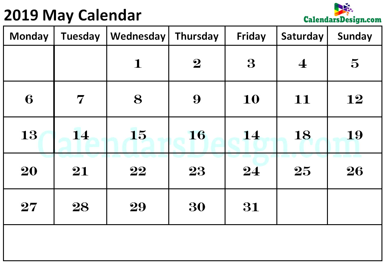 photo about Printable Calendars May known as Calendar for May possibly 2019 - Cost-free 2019 Printable Calendar