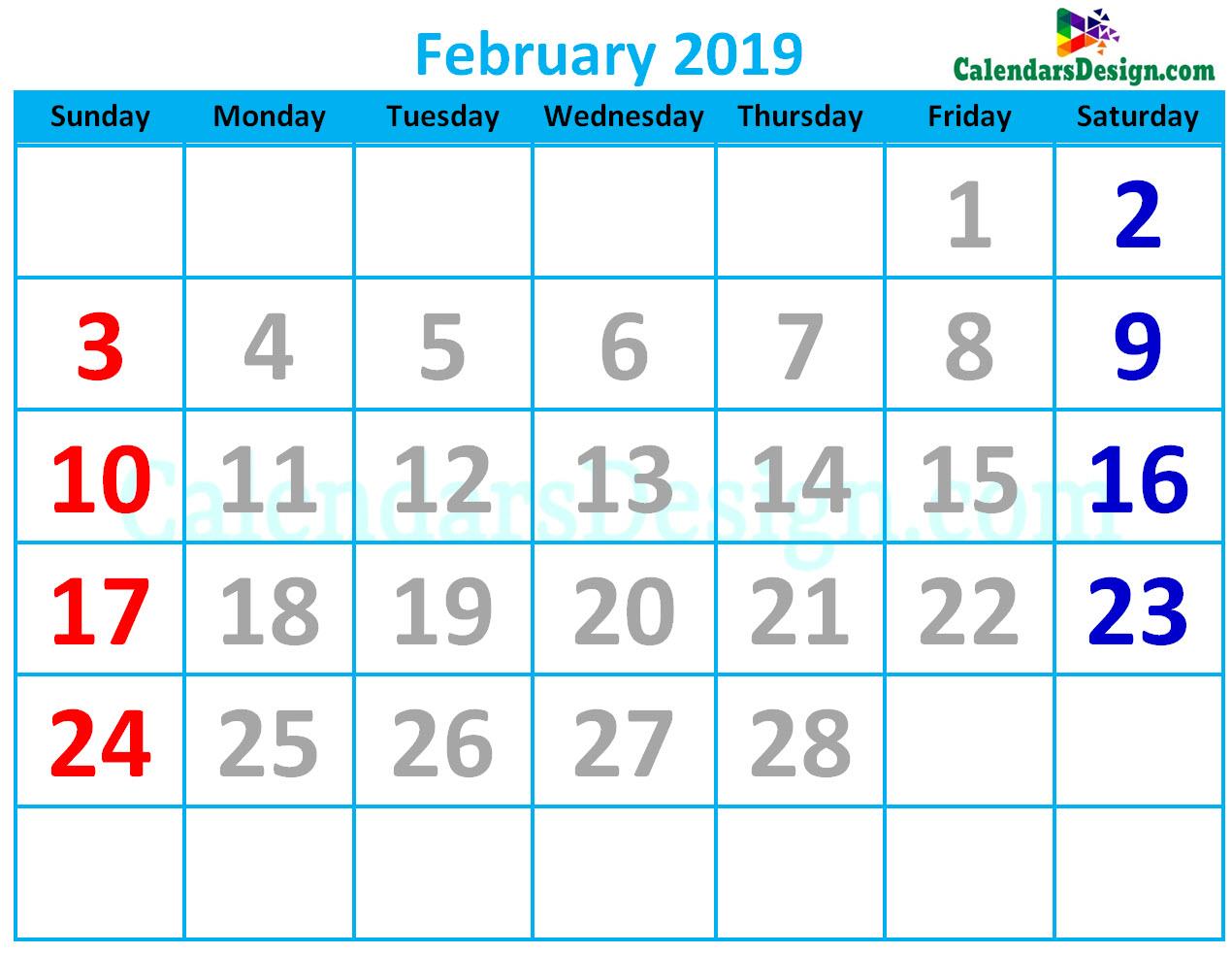 Cute Calendar for February 2019