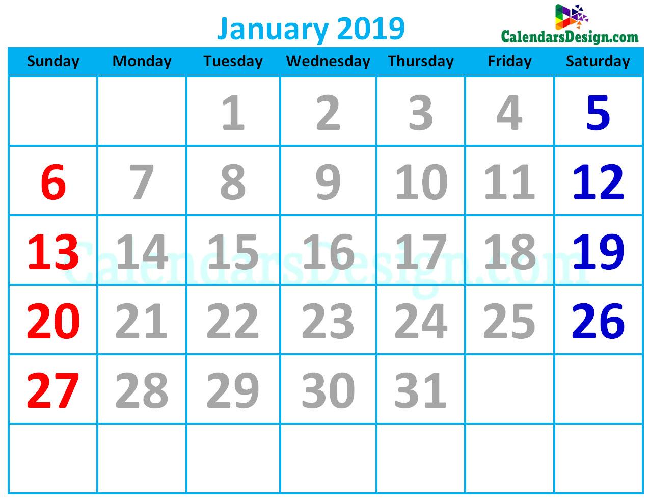 Cute Calendar for January 2019