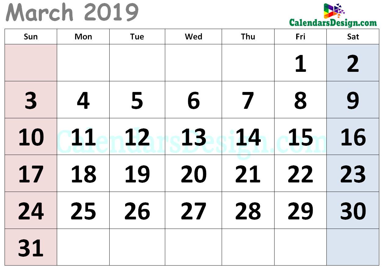 Cute Calendar for March 2019