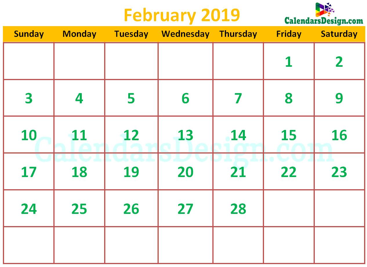 Cute February 2019 Calendar Free 2019 Printable Calendar
